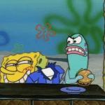 Spongebob Ripped Pants at Fish Eating Burger Spongebob meme template blank