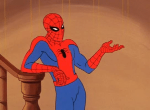 Spiderman Talking, hand out Avengers meme template