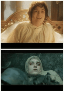 Frodo happy then sad LOTR meme template