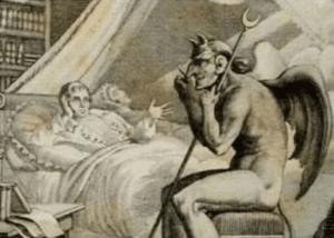 Talking to Devil / Satan in bed Bed meme template