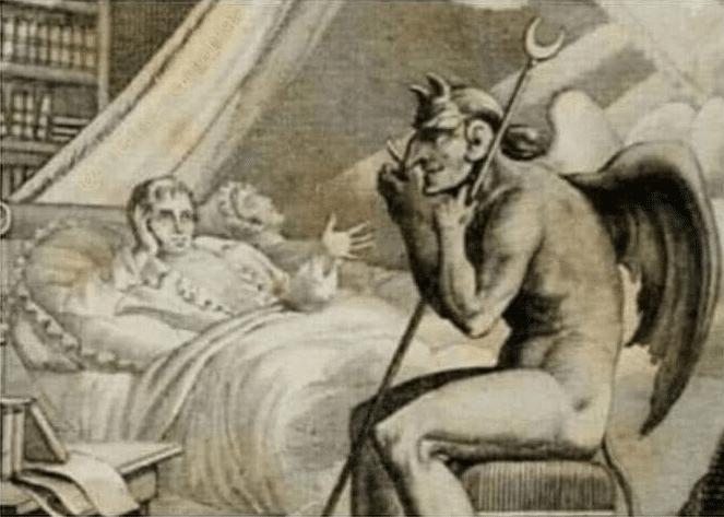 Talking to Devil / Satan in bed  meme template blank classic art