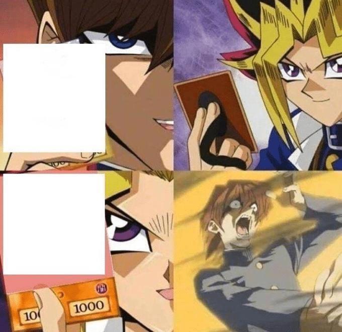 Yugi dueling Kaiba (blank)  meme template blank