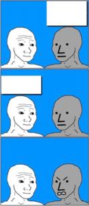Talking to NPC, NPC gets angry Angry meme template