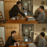 Always Sunny Throwing dish  meme template blank rejection, reverse, Always Sunny