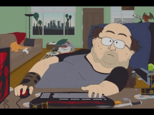 South Park Fat Nerd at Computer TV meme template
