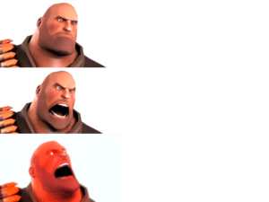 Heavy getting Increasingly Angrier Gaming meme template