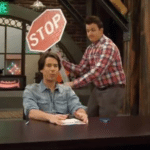 Gibby Hitting Spencer from Behind with Stop Sign  meme template blank unexpected, sneaky
