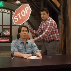 Gibby Hitting Spencer from Behind with Stop Sign Opinion meme template