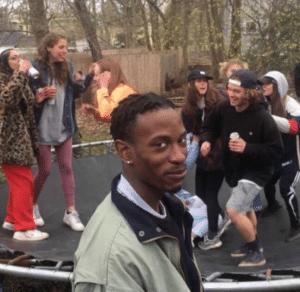 Black guy laughing at white kids Black Twitter meme template