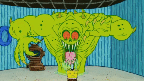 Spongebob vs. Green Monster Spongebob meme template blank