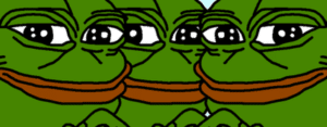 Three Pepes Staring Frog meme template
