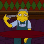 Moe Pointing Gun at Head Simpsons meme template blank suicide, sad, depression