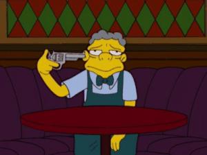 Moe Pointing Gun at Head Gun meme template