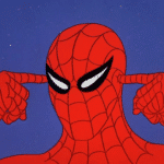 Spiderman thinking, pointing to head Spiderman meme template blank Marvel Avengers