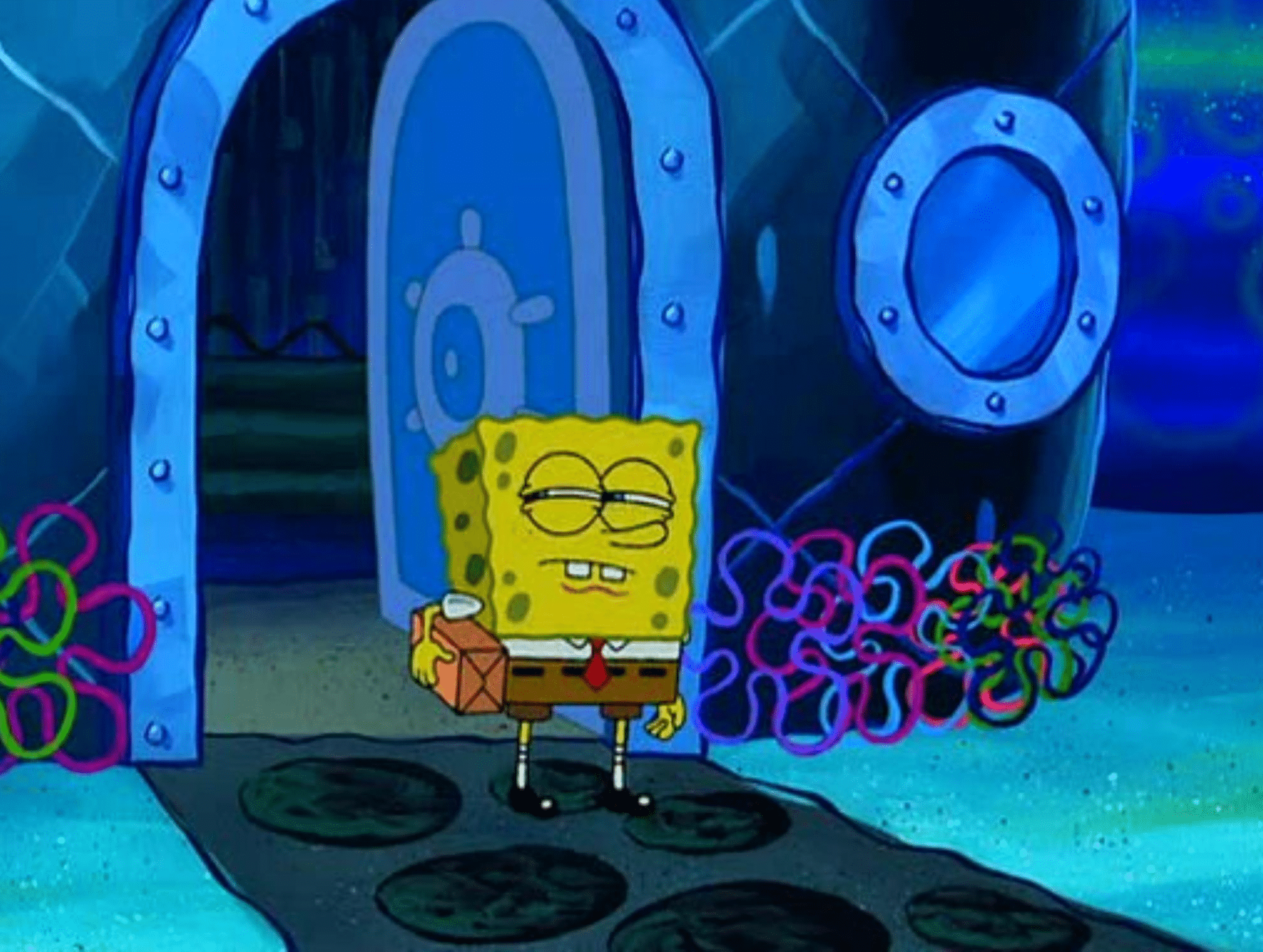 with package suspicious / squinting Spongebob meme template blank