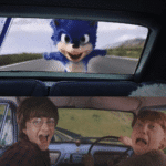 Ron and Harry looking at Sonic  meme template blank Harry Potter
