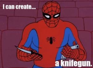 Spiderman 'I can create a knife gun' Avengers meme template