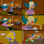 Krusty Fighting Man in Courtroom  meme template blank fight, attack, old man, clown=Simpsons