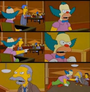 Krusty Fighting Man in Courtroom Clown meme template