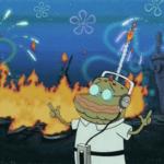Spongebob Old Fish Dancing with Burning City in Background Spongebob meme template blank Old Man Jenkins flames destruction