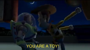 Woody at Buzz 'You are a toy!' Pixar meme template