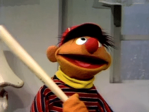 Ernie with a bat Angry meme template