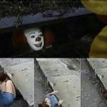 Girl crawling into sewer  meme template blank Clown