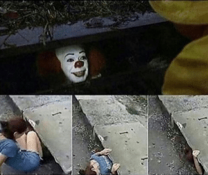 Girl crawling into sewer Clown meme template