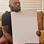 Disappointed Black Man Holding Sign  meme template blank