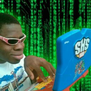 Black guy hacking on computer Black Twitter meme template