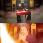 Man opening a red box to another man's surprise  meme template blank