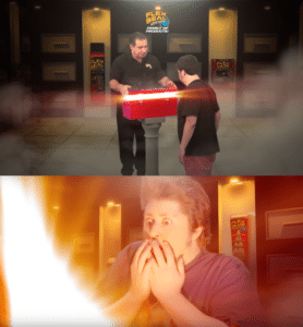 Man opening a red box to another man's surprise YouTube meme template
