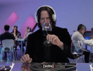 Keanu Reeves sobs Sad meme template