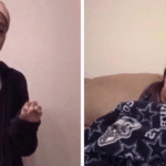 Older person trying to explain to younger person Black Twitter meme template blank