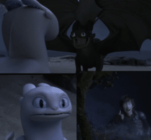 Toothless and White Dragon Pixar meme template