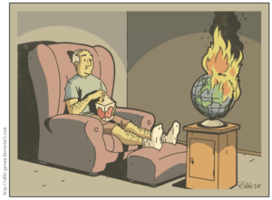 Guy Watching Globe Burn Food meme template