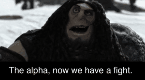 The alpha, now we have a fight Opinion meme template