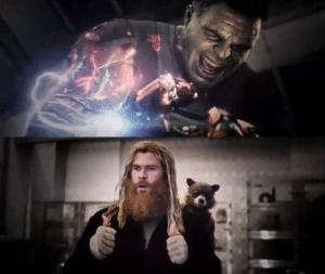 Thor Supporting / Cheering on Hulk Avengers meme template