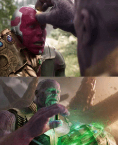 Thanos Taking Infinity Stone from Visions head Avengers meme template