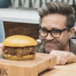 Man adoring burger  meme template blank