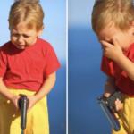 Kid crying with gun  meme template blank