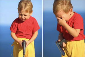 Kid crying with gun Gun meme template