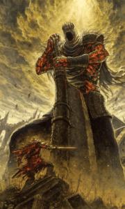 Small  knight vs. giant knight Crusade meme template