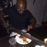 Cutting Food with Sword  meme template blank