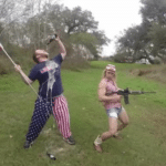 Holding USA flag drinking beer with gun  meme template blank American, Murica