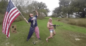 Holding USA flag drinking beer with gun Gun meme template