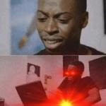 Black guy looking at computer, laser eyes Looking meme template