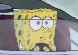 Spongebob Driving, shocked Disturbed meme template