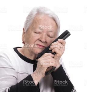 Old woman nuzzling gun Gun meme template