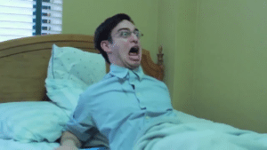 Filthy Frank waking up in bed, scared YouTube meme template